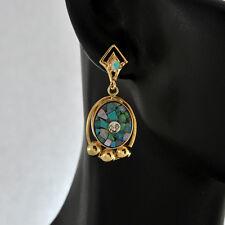 Vintage 14K Solid gold  Diamond & Opal Dangle Earrings  Post backs