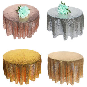 Sequin Table Cloth Glitter Tablecloth Wedding Backdrop Round Rectangle Party Dec