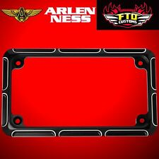 Arlen Ness Motorcycle License Plate Frame Beveled Black 12-144