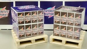 2 INTERSTATE BATTERY  STACKS + 2 WOODEN PALLETS 1:18 SCALE  DIORAMA MADE IN USA