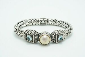 KC Indo Heavy Sterling Silver Bracelet with Pearl and Blue Topaz