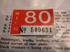 1980 Michigan License Plate Registration Tab Sticker Motorcycle