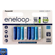 8 x Panasonic Eneloop AAA batteries 750mAh Rechargeable Ni-MH Ocean colors Accu