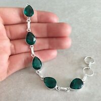 """NATURAL PEAR BLUE GREEN APATITE 925 STERLING SILVER LINK CHAIN BRACELET 7.5"""""""