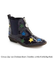 Stella McCartney Kids Girls Circus Zip-Up Chelsea Boots. Colorful Stars. Navy.