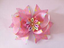 "6 BLESSING Girl 4.5"" Lotus Hair Bow Clip Rainbow Flower Mermaids Heart Ribbon"