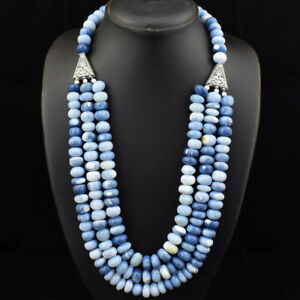 Single Strand 1035.00 Cts Natural Blue Lace Agate Round Beads Necklace NK 18E173