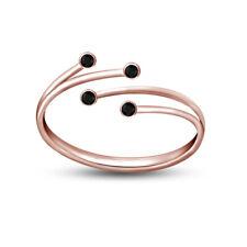 Diamond Leaf Bypass Adjustable Toe Ring 14K Rose Gold Finish Round Cut Black