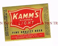 1940s IRTP Kamm's Pilsener Light semi-metallic 12oz Beer Label Tavern Trove