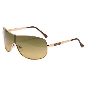 Guess - Gold Metal Pilot Style Shield Sunglasses with Case