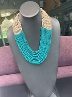 """Vintage WOW Boheniman Turquoise Seed Bead Woven Multi Strand Necklace  22"""""""