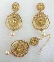 KUNDAN GOLD PEARL MAANG TIKKA EARRING SET BOLLYWOOD INDIAN BRIDAL JEWELRY M-3016