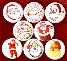 SANTA CLAUS 8 NEW button pin badge Merry Christmas stocking stuffer xmas st nick