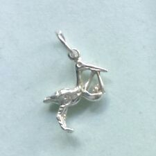 Small STORK carrying BABY - traditional 925 sterling silver charm pendant