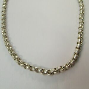 925 Sterling Silver Rolo Link Chain Necklace 18 Inches 48 Grams