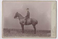 PHOTO ANCIENNE Militaire Soldat à cheval Épée Profil H. Dufour Nevers Vers 1900