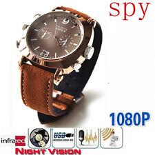 16 GB HD 1920*1080P IR Night Vision Spy Waterproof Design 3ATM Wrist Watch Cam
