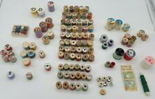Vintage Lot of 100 Wooden Spools of Sewing Thread Coats and Clark Star Talon etc