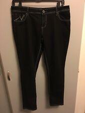 """Women's Vanity Harlow Straight, Skinny Leg Jeans Dark Wash 36"""" Waist"""