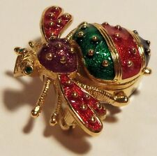 Joan-Rivers Bee Pin/Watch Enameled in Red, Green and Purple Pristine Condition