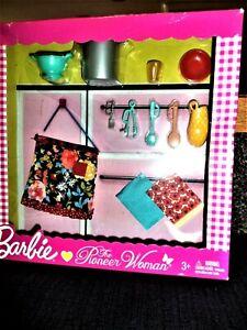 Barbie Toy Kitchen Accessories, Pots, Utensils, etc.  Pioneer Woman! New in Box