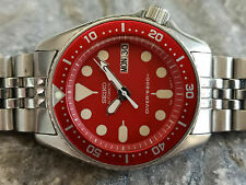 STUNNING RED MOD SEIKO DIVER 7S26-0030 SKX013 AUTOMATIC MEN'S WATCH SN 380059