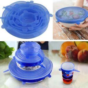 6pcs Silicone Stretch Lids Keep Fresh Food Pan Bowl Cup Dish Premium Cover Set
