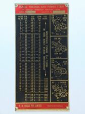 """HERCUS - IMPERIAL SCREW THREAD AND FEED CHART for 9"""" C Model Lathe ---"""