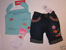NWT Gymboree Tropical Garden 3-6 Months Aqua Fish Top Jeans & Socks