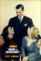 Wife vs secretary Jean Harlow Clark Gable cult movie poster print
