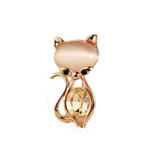 Luxury Gold & White Opal Simulation Crystal Cute Cat Small Brooch Pin BR80