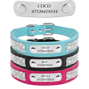 Personalised Engraved Rhinestone Dog Collars Pet Cat Puppy ID Name Collar XS-L
