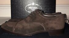 Prada Mens Brown Suede Vitello Lace Up Shoes Size 9