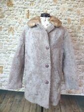 Vintage Curly Lamb Fur Coat Jacket Sheepskin Chic Shearling with fur collar