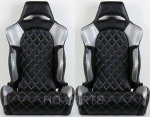 2 X TANAKA BLACK & SILVER PVC LEATHER RACING SEATS DIAMOND STITCH FITS HYUNDAI