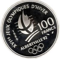 100 Francs Frankreich (France) Silber Olympia Albertville-  geöffnetes PP