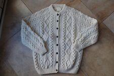 Hand knit Athena Designs Aran Fisherman Cardigan Sweater Leather Buttons XL