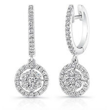 1.09 Ct Diamond Stud Earring 14K Hallmarked White Gold Round VVS1