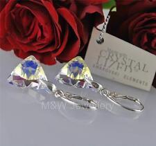 Pendientes de cristales de Swarovski ® Triángulo Cristal AB 16mm plata esterlina 925