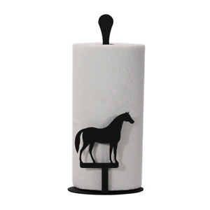 Wrought Iron Free Standing Paper Towel Stand in Horse - Cow or Pig Designs