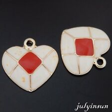 Antique Gold Alloy Enamel Red Love Heart Pendants Charms Crafts Finding 4x 50609
