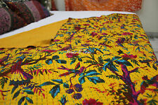 Indian Bird Kantha Quilt Reversible Throw Ralli Gudri King Size Blanket Yellow