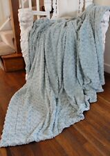 Large Faux Fur Light Blue Soft Swirly Duck Egg Throw Throwover Bedspread
