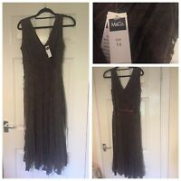 M&Co Midi Floral Lace Brown Dress New W Tags Size 14 Rrp£42 (A356)