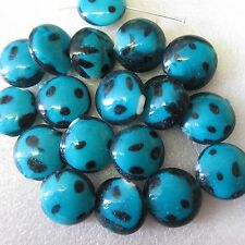 20 Disc Glass Beads Large Smartie Turquoise 20 x 10mm Crafts Jewellery Making