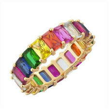 Rainbow ring thin line micro pave cz eternity 9 colors stack Antique Party