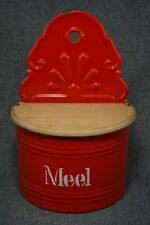 MEAL (MEEL) BOX - French Enamelware Red with White Lettering - Wooden Lid