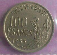 100 Francs Cochet 1955 : TTB : pièce de monnaie Française N11