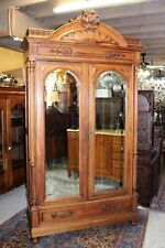 French Antique Walnut Gothic Armoire With 3 Shelves 1880 | Bedroom Furniture
