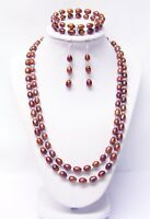 2 Strand Brown Freshwater Rice Pearl Necklace/Bracelet/Earrings Set